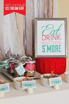 a fun idea for a S'mores Hot Cocoa & Ice Cream Bar.