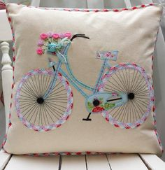 Adorable Bicycle Appliqué & Embroidered Pillow