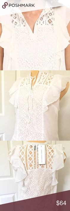 French Connection Boho style Lace top NWT New With Tag! French Connection Boho style Lace top size 0 Retail price : $168.00 A pretty piece for your fabulous wardrobe. Fashion-forward top flaunts a lace overlay with frill detailing. Split neckline with tie accent. Cap sleeves. Pull-on design. Frill hemline with lace detailing. 54% rayon, 46% cotton;Trim: 77% cotton, 22% polyamide, 1% polyester;Trim fabric: 100% polyamide. Dry clean only. Imported. French Connection Tops Blouses