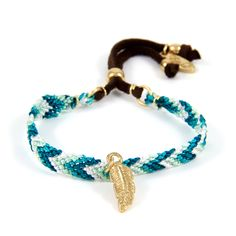 Be My Friendship Bracelet Multi Green with Gold Feather Charm
