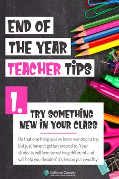 Tip 1 - Try something new! You know that one lesson plan or activity that you've wanted to try, but just never had the time to do? The end of the year can and should still be for useful learning! If you have gaps in your lesson plans, it's the perfect time to test new strategies that you have in mind and would like to incorporate into your classroom next year. Final Grade, Student Success, Nurse Quotes, Last Day Of School, Try Something New, Teacher Hacks, Higher Education, Funny Moments, Helpful Tips