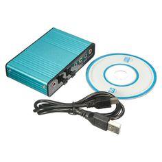Tarjeta de Sonido externa USB de 6 Canales 5.1 de Audio S/PDIF Óptico Tarjeta de Sonido Para PC azul Claro