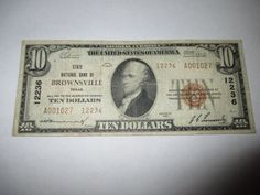 $10 1929 BROWNSVILLE TEXAS TX NATIONAL CURRENCY BANK NOTE BILL! CH. #12236 VF