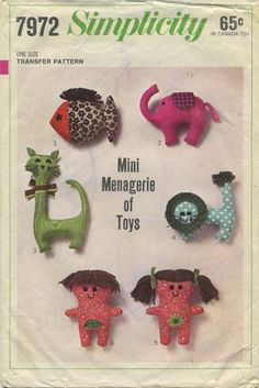 Vintage Sewing Pattern for Mini Menagerie of Toys | Fish, Elephant, Cat, Lion, Adam and Eve | Simplicity 7972 | Year 1968 | One Size