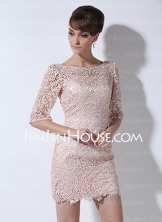 Sheath Scoop Neck Short/Mini Charmeuse Mother of the Bride Dresses With Lace (008006235)