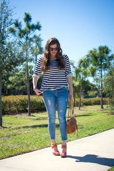 j crew, striped shirt, pur minerals, express jeans, nine west color blocked heels, rebecca minkoff swing bag in almond