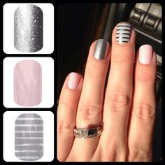 Blush and silver  pink nails Jamberry