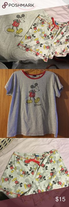 Mickey Mouse pajama shirt and shorts set, Large Mickey Mouse pajama shirt and shorts set, size Large. Heather gray t shirt with red stitching and red scalloped detail on neckline. Shorts have elastic waist, buttons and drawstring are for decorative purposes only. In good used condition, some piling 60% cotton, 40% polyester. Disney Intimates & Sleepwear Pajamas
