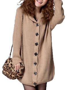 Loose Hooded Long Sleeve Thicken Knit Cardigan Women's Casual Sweater on buytrends.com