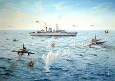 Argentinian assault on HMS Broadsword, Falklands War Military Paint, Military Jets, Military Aircraft, Falklands War, Aircraft Painting, Airplane Art, Historical Art, Navy Ships, Aviation Art