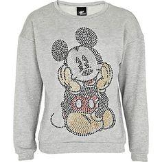 Girls grey diamante Mickey Mouse sweatshirt £18.00 RIVER ISLAND