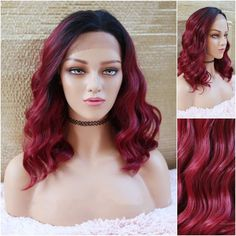 Burgundy Lace Front Wig, Blended Human Hair, Extra Large Lace Front for Natural Parting of Your Choice Natural Hair Growth, Natural Hair Styles, Latest Hair Trends, Red Wigs, Long Wigs, Lace Hair, Wig Styles, Silky Hair, Hair Designs