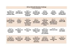 28 Day Minimalist Wardrobe Challenge Calendar