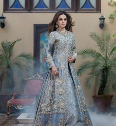 "One of our favourite bridal attire from "" Nouvelle Mariée"" collection by .Powder Blue with the hint of grey perfectly… Pakistani Couture, Pakistani Wedding Dresses, Pakistani Outfits, Indian Dresses, Indian Outfits, Net Dresses, Indian Designer Outfits, Designer Dresses, Designer Wear"