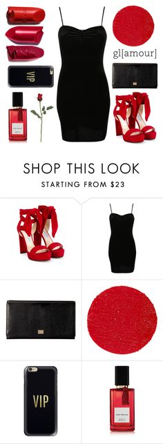 """""""red & black"""" by sweetprimrose ❤ liked on Polyvore featuring Jimmy Choo, Pilot, Dolce&Gabbana, Lipstick Queen, Casetify and Diana Vreeland Parfums"""