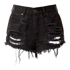 Black High Waisted Denim Shorts Destroyed ❤ liked on Polyvore featuring shorts, ripped shorts, distressed jean shorts, distressed shorts, high rise shorts and high-waisted jean shorts