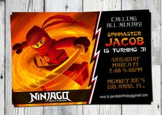 Ninjago party invites free printable lego ninjago birthday ninjago birthday party invitation printable custom invite red orange you print matching party printables other invitations available stopboris Choice Image