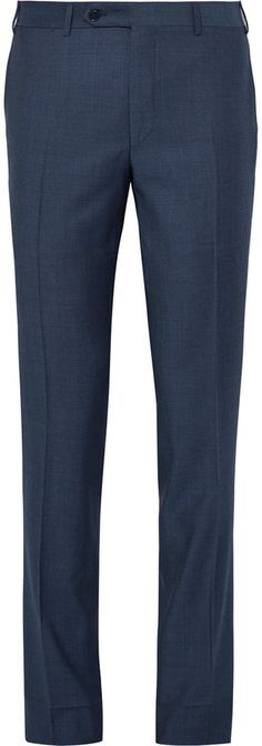 Canali Blue Slim-Fit Water-Resistant Birdseye Wool Suit Trousers