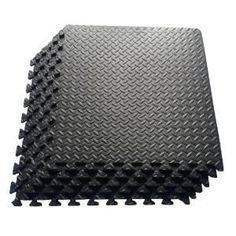 a73c532ef4f Ottomanson Multi-Purpose Black 24 in. x 24 in. EVA Foam Interlocking  Anti-Fatigue Exercise Tile Mat - The Home Depot. Exercise Gym