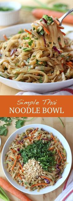 Simple Thai Noodle Bowl Pasta Dishes, Food Dishes, Main Dishes, Vegetarian Recipes, Cooking Recipes, Healthy Noodle Recipes, Healthy Asian Recipes, Tofu Recipes, Healthy Dishes