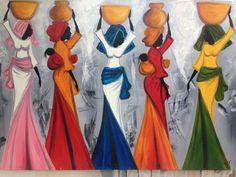 """Félix Sylva - """"Les Porteuses d'Eau"""" (de dragers van de water)  Mbour Senegal - een doek met Afrikaanse vrouwen in de BushWater pot vervoerder Europees-Afrikaanse vrouwen en ook alle vrouwen over de hele wereld die hebben lopen van lange afstanden voor het verzamelen van water.Afmeting: 100 x 69 cmGezien haar omvang zal het frame worden gescheiden van het schilderij zijn bescherming tijdens het transport te garanderen.Geregistreerde verzending via Colissimo met tracking  EUR 4.00  Meer…"""