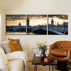 Horloge+de+style+moderne+européen+pont+mur+en+toile+3pcs+–+EUR+€+52.91