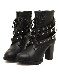 Korean Style Rivet Embellished Chunky Heels Short Boots--Click the picture can place an order, we support wholesale.