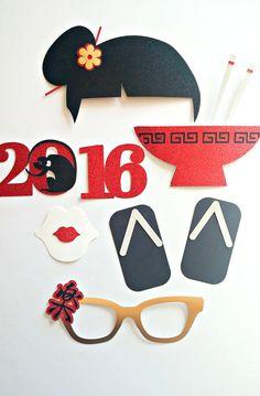 Asiático inspirado foto apoyos chino año nuevo negro, oro y rojo apoyos-brillante foto apoyos-Geisha ventilador-accesorios de fotografía-Oriental cotillón