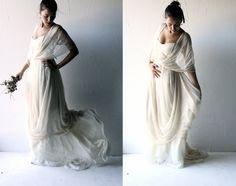 Robe de mariée bohème, robe de mariée bohème, robe de mariée de Hippie, robe de mariée Grecian, robe de mariée Alternative, longue soie, robe de mariée