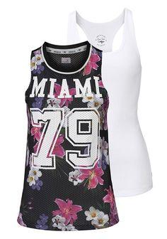 Flower-Power mit Shirt und Top von KangaROOS im angesagten College-Look. Damit das stylish gemusterte Print-Shirt bestens zur Geltung kommt, gibt es ein unifarbenes Top zum Unterziehen gleich dazu.  (Packung, 2 tlg., mit Top)