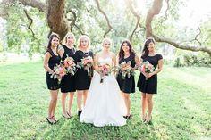 mismatched black bridesmaid dresses with blush bride - Google Search