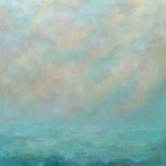 Blue and White Abstract Seascape Large 36 x 36 by traceynicholas