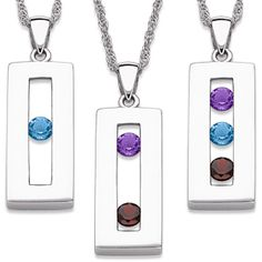 Luv this!!!! Buy Sterling Silver Genuine Birthstone Family Bar Necklace at Limoges