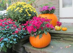 How to make pumpkin planters + more easy ways to update your fall curb appeal >> http://blog.diynetwork.com/maderemade/2015/09/11/fall-curb-appeal-decorating-inspiraiton/?soc=pinterest