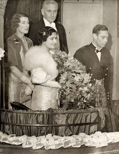 """theroyalhistory: """"The Duke and Duchess of York (King George VI and Queen Elizabeth, the Queen Mother) with Lord and Lady Elphinstone (born Lady Mary Frances Bowes-Lyon) at the Empire Theatre, 1936 """" Lady Elizabeth, Princess Elizabeth, Princess Margaret, Queen Mother, Queen Mary, King Queen, Reine Victoria, Queen Victoria, George Vi"""
