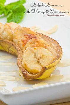 Baked Bananas with Honey and Cinnamon 1 ripe Banana, peeled and sliced lengthwise Lemon juice 2 tsp honey Ground cinnamon