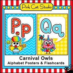 These fun circus / carnival owl theme alphabet posters will look great on your kindergarten classroom bulletin board. By Pink Cat Studio Circus Theme Classroom, Owl Classroom, Kindergarten Classroom, Classroom Activities, Classroom Decor, Fun Educational Games, Literacy Worksheets, Online Games For Kids, Pink Cat