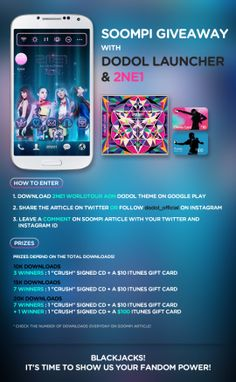 "[Exclusive] Download 2ne1's ""All or Nothing"" dodol theme and win ""Crush"" signed CDs & Up to $100 in gifts :D  Visit soompi.com for more information !"