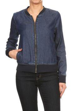 Rachel - Denim Bomber Jacket