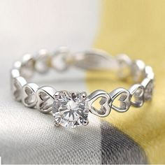 50% off The Finger Ring Heart Love 925 Sterling Silver Fashion Wedding Rings for Women Simulated Diamond Jewelry Ulove J391