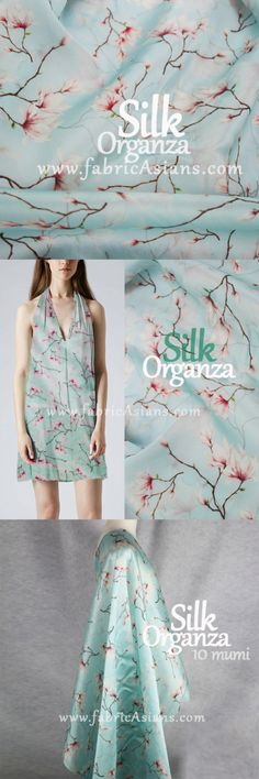"""53"""" SILK Organza with Cherry Blossom Prints in mint color. Aqua Silk Fabric. Pure Silk. Floral Organza by fabricAsians on Etsy. Enjoy 10% OFF Etsy Coupon!"""