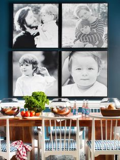 Add a creative touch to cherished family photos with cropping, large format printing and framing.