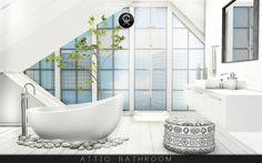 Attic Bathroom  • DOWNLOAD: Bathtub / Windows / Ceiling / Wall / Floor / Sink / Bottles / Shampoo / Shower / Rocks / Mirror / Base (Stairs) / Towel / Plant / Pouf