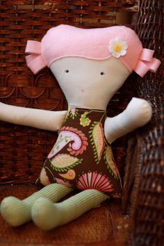 Handmade Cloth Doll - Pink and Brown Paisley Dress with Pink Hair