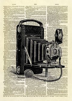Antique Kodak Camera Dictionary Art Print No. 14 sold by Altered Artichoke. Shop more products from Altered Artichoke on Storenvy, the home of independent small businesses all over the world. Camera Drawing, Camera Art, Kodak Camera, Book Page Art, Book Pages, Book Art, Vintage Images, Vintage Art, Upcycled Vintage