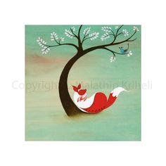Old Sweet Song art print featuring a fox and a blue bird. $20.00, via Etsy.