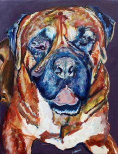 Bullmastiff Dog Painting Art print Dog by OjsDogPaintings on Etsy #dog…
