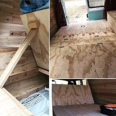 Spent last night in the van. I am so glad I insulated the van as well as I did because the 30 degree weather wasn't a problem at all!  As requested by @charlotte_shellshock here's a more detailed description of how I built my bed so that it folds in both directions making a futon.  Here it goes! The platform part of the bed is divided into four panels. The first large panel is attached by a hinge to a smaller panel which is secured to the frame. The next large panel is set up the same way as…