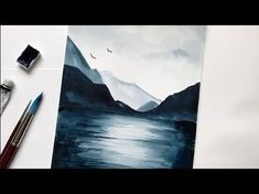 Mountain & Lake Watercolor Tutorial Step by Step Easy - YouTube