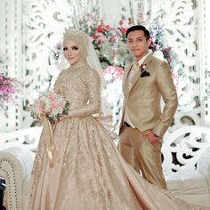 Bridal hijab wedding dresses Ideas for 2019 Muslimah Wedding Dress, Muslim Wedding Dresses, Muslim Brides, Wedding Party Dresses, Bridesmaid Dresses, Party Wedding, Dress Party, Muslim Dress, Hijab Dress